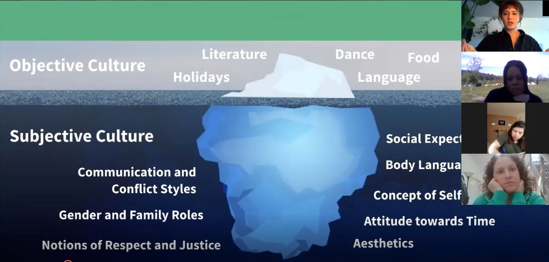 """Zoom Screenshot with a presentation slide of the """"cultural iceberg,"""" showing subjective culture traits below the water and objective culture traits above the water. Four faces on the ride side are watching."""