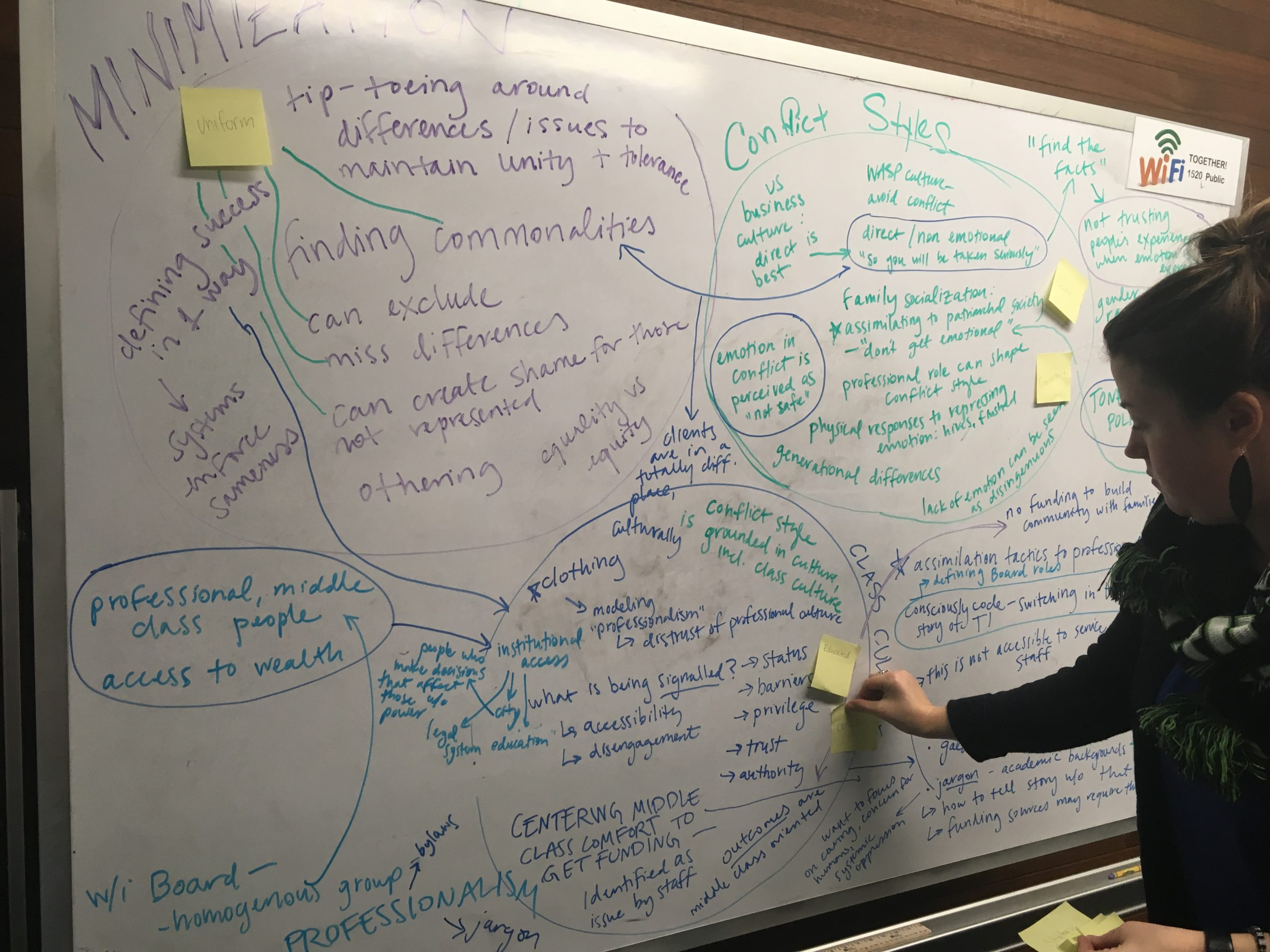 """A woman with a scarf and earrings on places a post-it note on a white board full of writing, with the words """"minimization"""" and """"conflict styles"""" visible."""